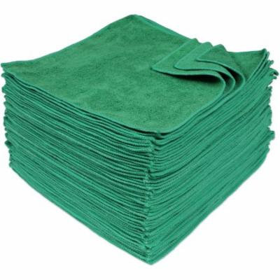 Eurow Microfiber 12 x 12in 350 GSM Cleaning Towels Green - 50 Pack