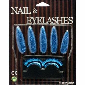 Blue Glitter Nails & Eyelashes