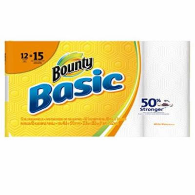 Bounty Basic Large Paper Towels, White, 12 Count (Pack of 2)