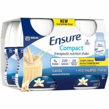 Ensure Compact Vanilla Therapeutic Nutrition Shakes, 4 fl oz, 4 count, (Pack of 4)