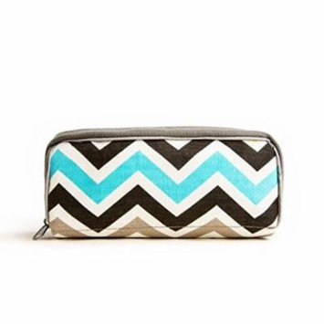 Stylish Essential Oil Travel Bag - Holds 10 5ml-15ml Vials - Perfect Essential Oils Case for Travel - Fits Easily in a Purse or Makeup Bag (Blue/Green Chevron)