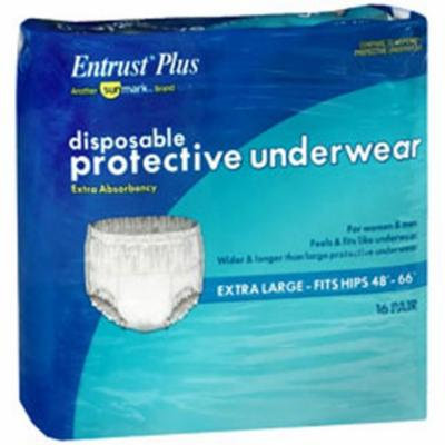 Sunmark Entrust Plus Disposable Protective Underwear Super Absorbency X-Large - 4 pks of 16 ct