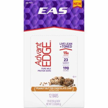 EAS AdvantEDGE Peanut Butter Chocolate Chip Protein Bars, 1.76 oz, 12 count, (Pack of 3)
