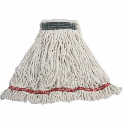 Rubbermaid Commercial Swinger Loop Cotton/Synthetic Shrinkless Mop Heads, Medium, White, 6 count