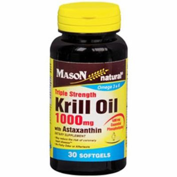 Mason Natural Krill Oil 1000 mg with Astaxanthin Triple Strength, 30 Softgels