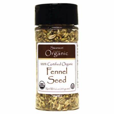 Swanson 100% Certified Organic Fennel Seed 1.6 oz (45 grams) Seeds