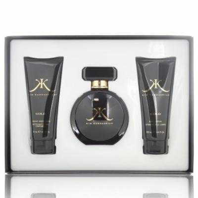 KIM KARDASHIAN GOLD WOMEN 3 PIECE GIFT SET - 3.4 OZ EAU DE PARFUM SPRAY by KIM KARDASHIAN