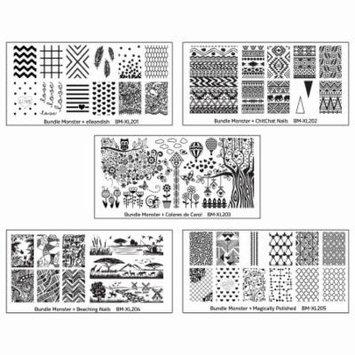 Bundle Monster 5pc Blogger Collaboration Nail Art Polish Stamping Plates
