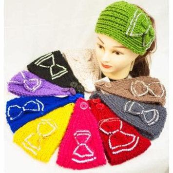 Ddi Knit Flower Headband Rhinestone Bowtie (pack Of 12)