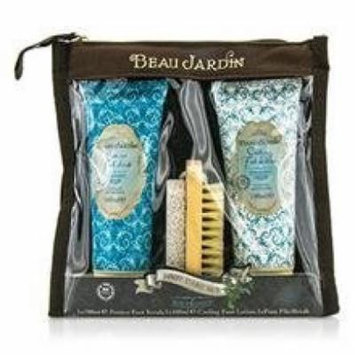 Healthcote & Ivory Beau Jardin Spearmint Foot Care Set: Pumice Foot Scrub 100ml/3.38oz + Foot Lotion 100ml/3.38oz + Foot