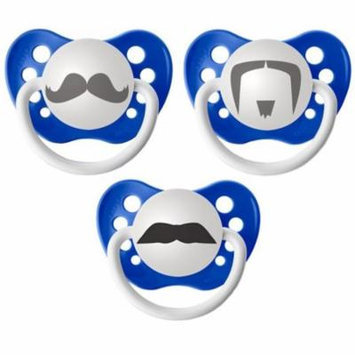 Personalized Pacifiers Mustache Pacifier, 3 Pack - Blue