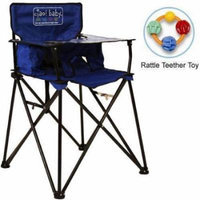 ciao baby - Portable High Chair with Rattle Teether Toy - Blue