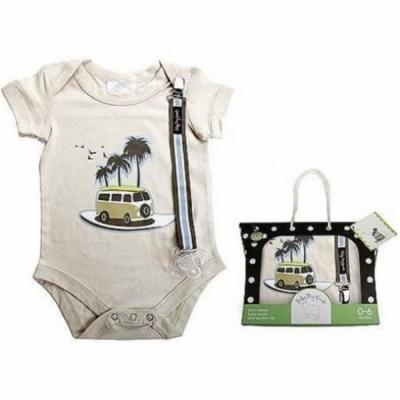 Baby Dry Goods 020-10 Onesie-Pacifier Clip Boxed Set- surf van