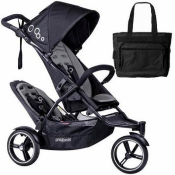 Phil & Teds Dot Double Stroller with Second Seat With Diaper Bag - Graphite