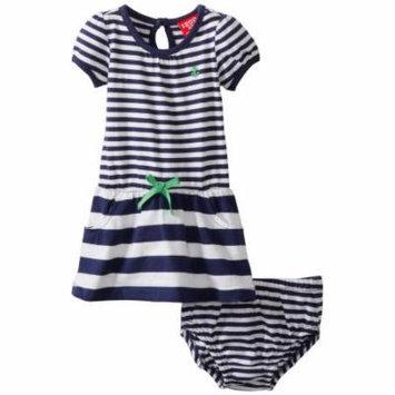 Izod Baby Girls Yarn Dye Stripe Polo Dress with Diaper Cover