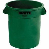 Rubbermaid Commercial Dark Green Plastic 10 Gallon Round Brute Containers, 6 count