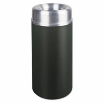 Crowne Collection Open Top Receptacle, Round, Black, 15 gallon