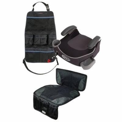 Graco Affix Backless Booster Car Seat with Car Seat Mat & Backseat Organizer, Davenport