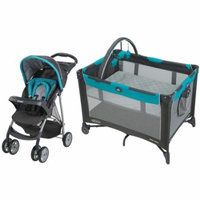 Graco Click Connect Literider Stroller with Pack 'n Play On The Go Travel Playard