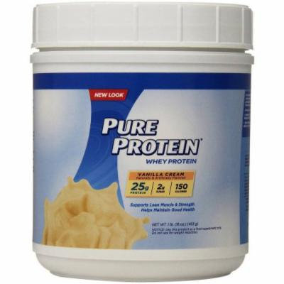 Pure Protein Vanilla Cream Whey Protein Shake Powder, 16 oz, (Pack of 3)