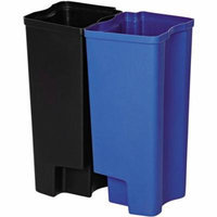 Rubbermaid Commercial Front Step Plastic Step-On Rigid Dual Liner for Stainless, 8 gallon, Black/Blue