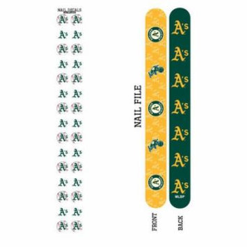 Bundle 2 Items: Oakland Athletics Nail File and Nail Sticker Decals