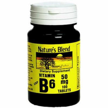 Nature's Blend Vitamin B6 50 mg Tablets - 100 ct