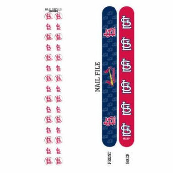 Bundle 2 Items: St. Louis Cardinals Nail File and Nail Sticker Decals