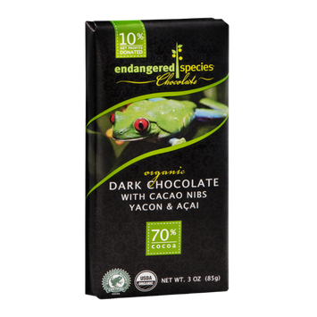 Endangered Species Chocolate Organic Dark Chocolate With Cacao Nibs Yacon & Acai