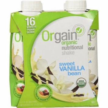 Orgain Organic Sweet Vanilla Bean Nutritional Shakes, 11 fl oz, 4 count, (Pack of 3)