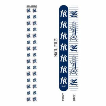 Bundle 2 Items: New York Yankees Nail File and Nail Sticker Decals