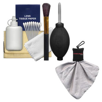Precision Design 6-Piece Camera & Lens Cleaning Kit with Blower, Brush, Fluid, Cloth, Tissues & Tips + Spudz Cloth