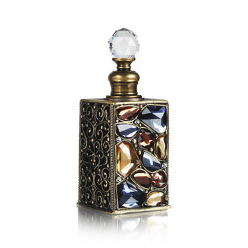 Welforth Bejeweled Mutli-Colored Stone Perfume Bottle