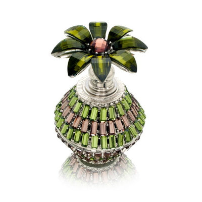 Welforth Perfume Bottle (Green Bottle with Decorative Flower Stopper)