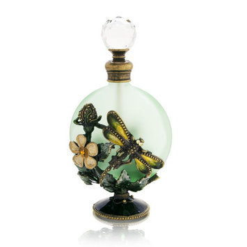 Welforth Green Bottle with Dragonfly Decorative Perfume Bottle