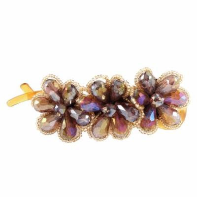 Lady Purple Crystal Flower Shaped Brown Banana Barrette Hairpin Hair Clips Clasp