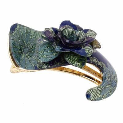 Blue Flower Accent Gold Tone Alligator Hairclip Hair Clip Claw Clamp for Lady
