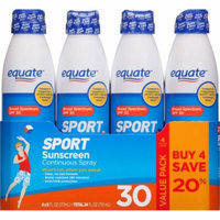 Equate Sport Sunscreen Continuous Spray, SPF 30, 6 fl oz, (Pack of 4)