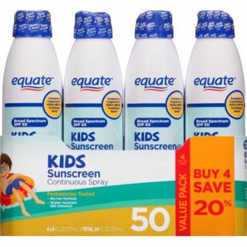 Equate Kids Sunscreen Continuous Spray, SPF 30, 6 fl oz, (Pack of 4)