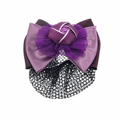 Women Purple Flower Bow Accent Hair Barrette Snood Net