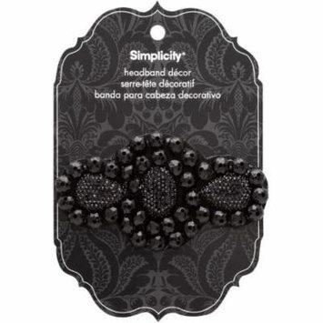 Simplicity Slide On Flower Headband Accessory in Black