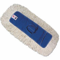 Kut-A-Way Dust Mop Head, Cotton/Polyester, White, 24w x 5d, Cut-End, D