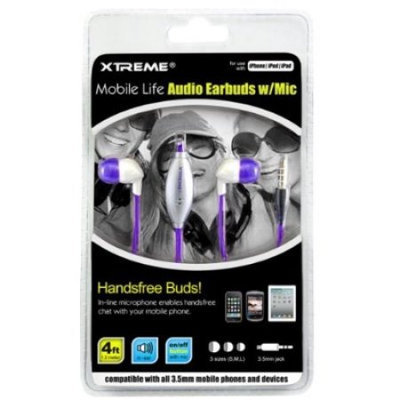 XtremeCables 94205 Purple Mobile Life Earbudz with In-Line microphone