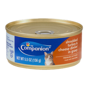 Companion Premium Cat Food Shredded Turkey & Cheese Dinner in Gravy 5.5 OZ