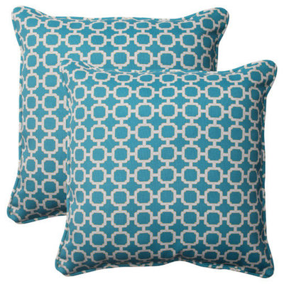 Pillow Perfect Outdoor 2-Piece Square Toss Pillow Set - Teal/White Geometric