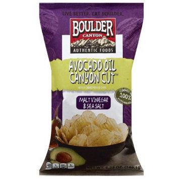 Boulder Canyon Canyon Cut Malt Vinegar & Sea Salt Kettle Cooked Potato Chips, 5.05 oz, (Pack of 12)