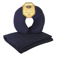 World's Best Fleece Blanket/Travel Pillow Combo - Navy