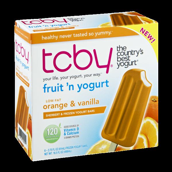 TCBY Low Fat Orange & Vanilla Sherbert & Frozen Yogurt Bars - 6 CT