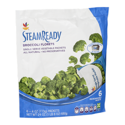 Ahold Steam Ready Broccoli Florets Single Serve Packets - 6 CT