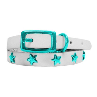 Platinum Pets White Genuine Leather Cat and Puppy Collar with Stars -